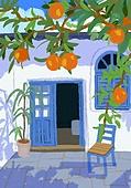 풍경 (컨셉), 여름, 계절, 자연풍경, 유화 (회화기법), 복숭아, 과일 (음식), 휴양지