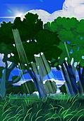 풍경 (컨셉), 여름, 계절, 자연풍경, 유화 (회화기법), 숲, 나무, 그늘 (빛효과), 빛 (자연현상)