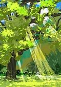 풍경 (컨셉), 여름, 계절, 자연풍경, 유화 (회화기법), 빛 (자연현상), 나무, 숲
