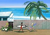 풍경 (컨셉), 여름, 계절, 바다, 휴양지, 해변 (해안), 서핑, 서핑보드 (수중스포츠장비), 야자나무 (열대나무)
