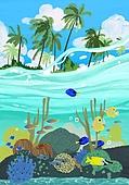 풍경 (컨셉), 여름, 계절, 바다, 휴양지, 바다속, 어류 (척추동물), 산호 (자포동물), 야자나무 (열대나무)