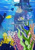 풍경 (컨셉), 여름, 계절, 바다, 휴양지, 바다속, 어류 (척추동물), 산호 (자포동물)