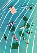 풍경 (컨셉), 여름, 계절, 바다, 휴양지, 가오리 (바다물고기), 서핑, 탑앵글 (카메라앵글)