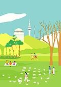 서울 (대한민국), 랜드마크, 봄, 풍경 (컨셉), 공원, 풀 (식물), 남산 (서울), 남산서울타워 (서울)