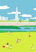 서울 (대한민국), 랜드마크, 봄, 풍경 (컨셉), 공원, 풀 (식물), 석촌호수