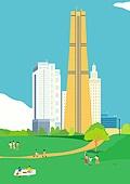서울 (대한민국), 랜드마크, 봄, 풍경 (컨셉), 공원, 풀 (식물), 여의도공원, 63빌딩 (서울)