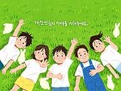 어린이 (나이), 어린이날 (홀리데이), 밝은표정, 연례행사 (사건), 여러명[3-5] (사람들), 봄, 풀 (식물), 잔디밭, 토끼 (토끼목), 탑앵글 (카메라앵글), 인사 (제스처)