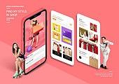 그래픽이미지, 편집디자인, 모바일쇼핑, 스마트폰, 웹모바일 (이미지), 세일 (상업이벤트), 여성, 쇼핑 (상업활동)