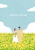 결혼 (사건), 결혼, 부부, 신혼부부, 스몰웨딩, 포즈 (몸의 자세), 하늘, 구름, 꽃밭, 웨딩드레스 (드레스)