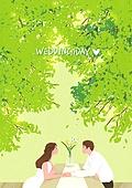 결혼 (사건), 결혼, 부부, 신혼부부, 스몰웨딩, 포즈 (몸의 자세), 숲, 나무