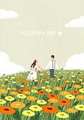 결혼 (사건), 결혼, 부부, 신혼부부, 스몰웨딩, 포즈 (몸의 자세), 꽃밭, 웨딩드레스 (드레스)