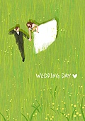 결혼 (사건), 결혼, 부부, 신혼부부, 스몰웨딩, 포즈 (몸의 자세), 풀 (식물), 눕기 (몸의 자세), 웨딩드레스 (드레스)