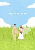 결혼 (사건), 결혼, 부부, 신혼부부, 스몰웨딩, 포즈 (몸의 자세), 웨딩드레스 (드레스), 들판, 구름, 하늘