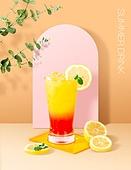 음료 (Food And Drink), 여름, 차가운음료 (무알콜음료), 시원함 (컨셉), 파스텔톤 (색상강도), 트렌드, 포스터, 잎, 주스