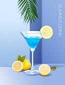 음료 (Food And Drink), 여름, 차가운음료 (무알콜음료), 시원함 (컨셉), 파스텔톤 (색상강도), 트렌드, 포스터, 잎, 칵테일, 레몬