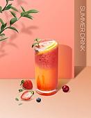 음료 (Food And Drink), 여름, 차가운음료 (무알콜음료), 시원함 (컨셉), 파스텔톤 (색상강도), 트렌드, 포스터, 잎, 주스, 베리 (과일)