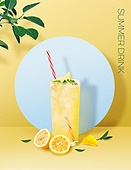 음료 (Food And Drink), 여름, 차가운음료 (무알콜음료), 시원함 (컨셉), 파스텔톤 (색상강도), 트렌드, 포스터, 잎, 레모네이드
