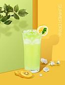 음료 (Food And Drink), 여름, 차가운음료 (무알콜음료), 시원함 (컨셉), 파스텔톤 (색상강도), 트렌드, 포스터, 잎, 에이드