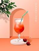 음료 (Food And Drink), 여름, 차가운음료 (무알콜음료), 시원함 (컨셉), 파스텔톤 (색상강도), 트렌드, 포스터, 잎, 에이드, 체리