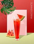 음료 (Food And Drink), 여름, 차가운음료 (무알콜음료), 시원함 (컨셉), 파스텔톤 (색상강도), 트렌드, 포스터, 잎, 수박주스, 수박