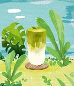 여름, 음료, 차가운음료 (무알콜음료), 치즈나무 (열대관목), 녹차라떼