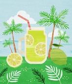 여름, 음료, 차가운음료 (무알콜음료), 열대음료 (칵테일), 야자나무 (열대나무), 라임 (감귤류)