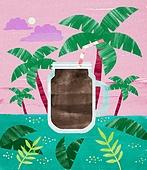 여름, 음료, 차가운음료 (무알콜음료), 열대음료 (칵테일), 야자나무 (열대나무), 아이스아메리카노