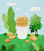 여름, 음료, 차가운음료 (무알콜음료), 치즈나무 (열대관목), 달고나, 달고나커피 (커피)