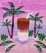 여름, 음료, 차가운음료 (무알콜음료), 열대음료 (칵테일), 야자나무 (열대나무)