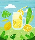 여름, 음료, 차가운음료 (무알콜음료), 치즈나무 (열대관목), 레몬, 아이스티, 레모네이드