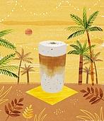여름, 음료, 차가운음료 (무알콜음료), 열대음료 (칵테일), 야자나무 (열대나무), 검은깨 (깨), 라떼