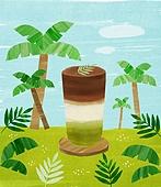 여름, 음료, 차가운음료 (무알콜음료), 열대음료 (칵테일), 야자나무 (열대나무), 녹차라떼