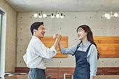 한국인, 상점, 시간제근무 (직업), 소유자 (직업), 채용 (고용문제), 미소, 손잡기, 단결
