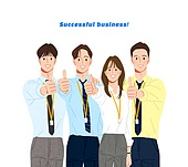 사람, 비즈니스, 사람들, 여러명[3-5] (사람들), 비즈니스우먼, 비즈니스맨, 팀워크 (협력), 협력, 청년 (성인), 포즈 (몸의 자세), 앞모습 (카메라앵글), 엄지손가락 (손가락)
