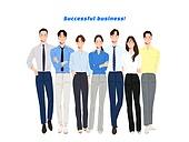 사람, 비즈니스, 사람들, 여러명[3-5] (사람들), 비즈니스우먼, 비즈니스맨, 팀워크 (협력), 협력, 청년 (성인), 포즈 (몸의 자세), 앞모습 (카메라앵글), 팔짱[혼자] (몸의 자세)