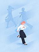 화이트칼라 (전문직), 비즈니스, 스트레스, 비즈니스우먼, 출퇴근 (여행하기), 달리기 (물리적활동), 횡단보도