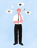 화이트칼라 (전문직), 비즈니스, 스트레스, 점심시간, 걱정 (어두운표정), 비즈니스맨