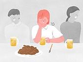 화이트칼라 (전문직), 비즈니스, 스트레스, 한숨, 회식, 술 (음료), 맥주