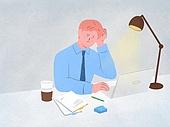 화이트칼라 (전문직), 비즈니스, 스트레스, 스탠드, 책상, 커피 (뜨거운음료), 걱정 (어두운표정), 일 (물리적활동), 야간근무 (고용문제)