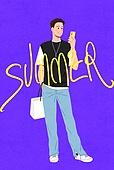 남성 (성별), 쇼핑 (상업활동), 여름, 연례행사 (사건), 상업이벤트 (사건), 패션, 캐쥬얼 (옷), 캘리그래피 (문자), 손글씨, 포즈 (몸의 자세), 전신, 쇼핑백, 스마트폰