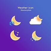아이콘, 아이콘세트 (아이콘), 글래스모피즘, 트렌드, 날씨, 달 (하늘)