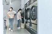 무인세탁소, 빨래, 세탁기, 빨래바구니, 건조기, 대화, 세탁업자 (가게), 마스크 (방호용품)