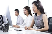 Professional Chinese customer service staff in office