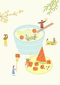 음식, 한식 (아시아음식), 전통음식, 보양식, 복날, 전통문화 (주제), 한복, 탑앵글 (카메라앵글), 콩국수, 수박