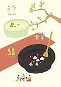 음식, 한식 (아시아음식), 전통음식, 보양식, 복날, 전통문화 (주제), 한복, 탑앵글 (카메라앵글), 팥죽, 죽 (한식)