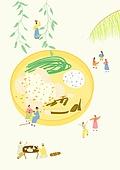 음식, 한식 (아시아음식), 전통음식, 보양식, 복날, 전통문화 (주제), 한복, 탑앵글 (카메라앵글), 닭백숙 (한식)