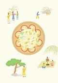 음식, 한식 (아시아음식), 전통음식, 보양식, 복날, 전통문화 (주제), 한복, 탑앵글 (카메라앵글), 초계국수 (국수)