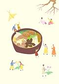 음식, 한식 (아시아음식), 전통음식, 보양식, 복날, 전통문화 (주제), 한복, 탑앵글 (카메라앵글), 버섯전골