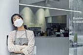 카페, 바리스타, 카페테리아직원 (음식서비스직), 걱정 (어두운표정)