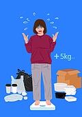 야식, 배달 (일), 배달음식, 체중계 (저울), 비만, 플라스틱, 쓰레기 (물체묘사)